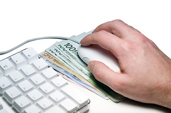 Cash under a computer mouse